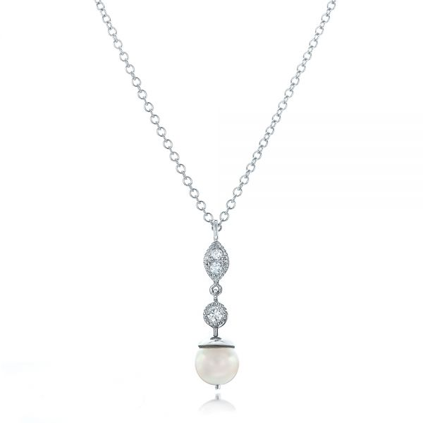 Custom Diamond and Pearl Necklace - Image