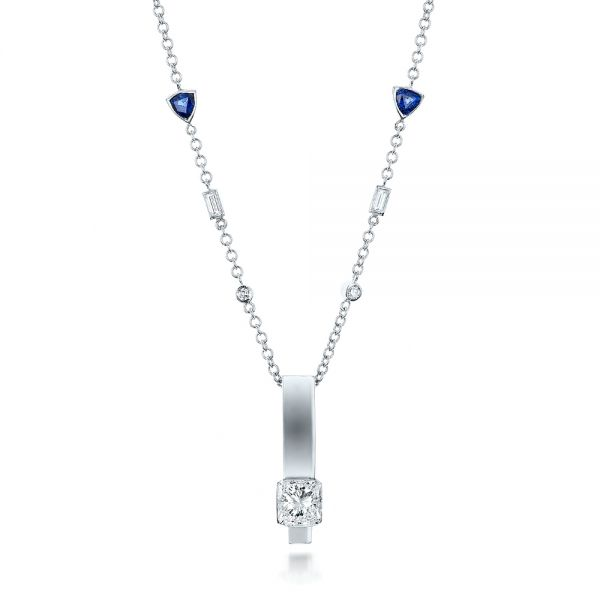 Custom Diamond and Tanzanite Pendant - Three-Quarter View -  101219 - Thumbnail