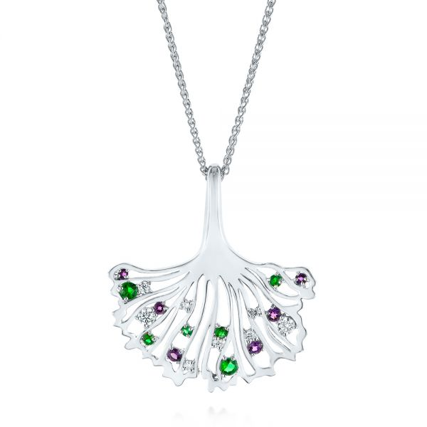 Custom Emerald, Amethyst and Diamond Pendant - Image