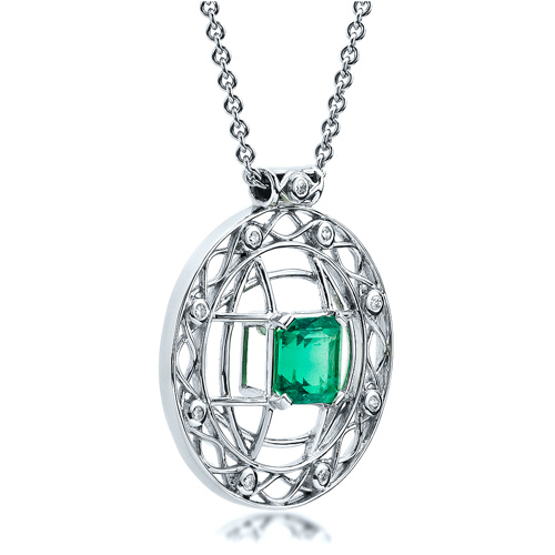 Custom Emerald Pendant - Laying View