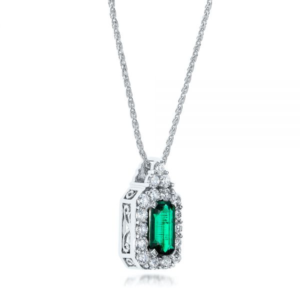 14k White Gold Custom Emerald And Diamond Halo Pendant - Flat View -  101244