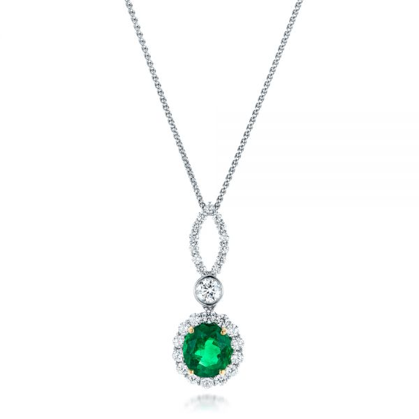 Custom Emerald and Diamond Halo Pendant - Image