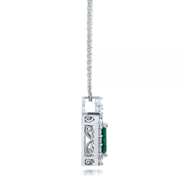 14k White Gold Custom Emerald And Diamond Halo Pendant - Side View -  101244
