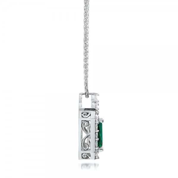 Custom Emerald and Diamond Halo Pendant - Side View -  101244 - Thumbnail