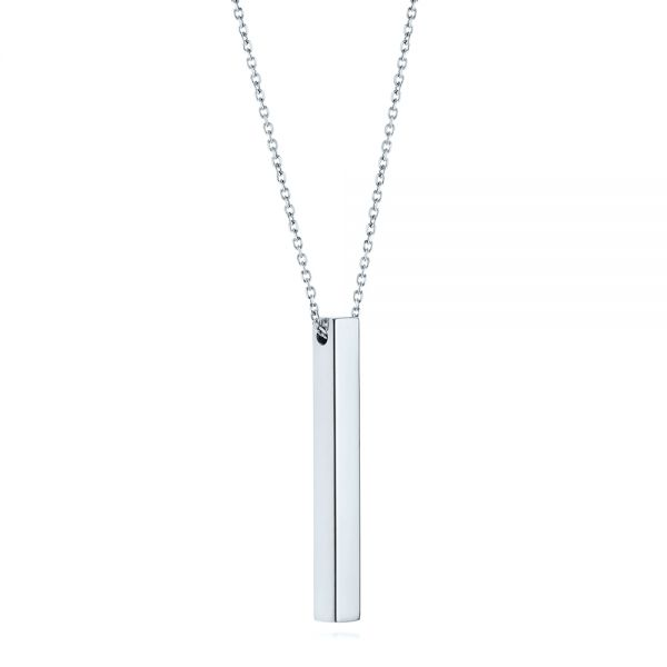 14k White Gold 14k White Gold Custom Engravable Bar Necklace - Flat View -  105492