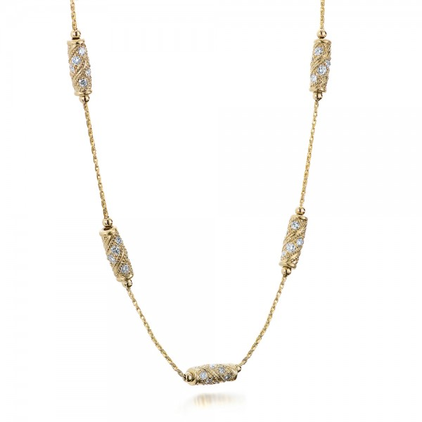 Custom Gold and Diamond Necklace - Flat View -  101865 - Thumbnail