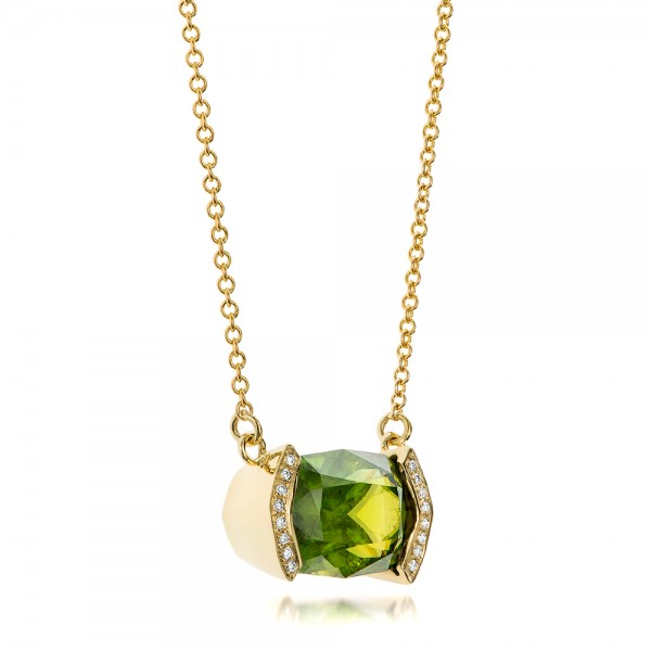 Custom Green Sphene and Diamond Pendant - Laying View