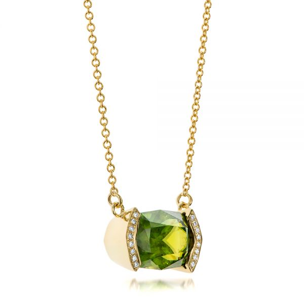Custom Green Sphene And Diamond Pendant - Flat View -