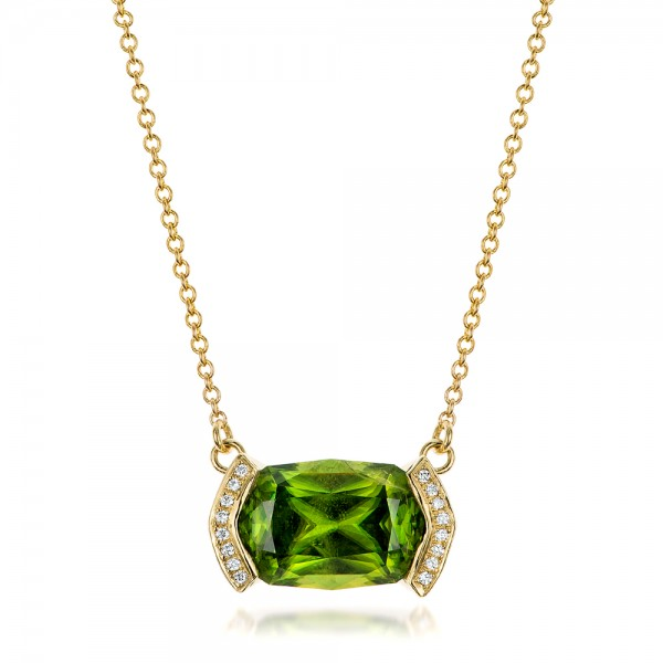 Custom Green Sphene and Diamond Pendant