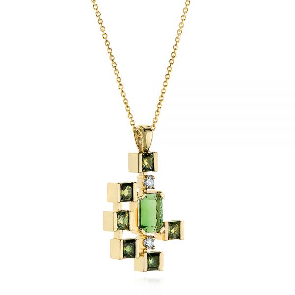 18k Yellow Gold Custom Green Tourmaline And Sapphire Pendant - Flat View -  105198