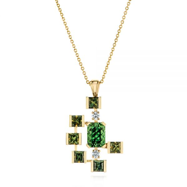 18k Yellow Gold Custom Green Tourmaline And Sapphire Pendant - Three-Quarter View -  105198