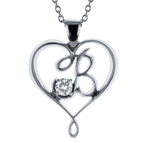 Custom Initials Diamond Pendant - Three-Quarter View -  1236 - Thumbnail