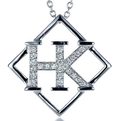 Custom Initials Diamond Pendant - Laying View