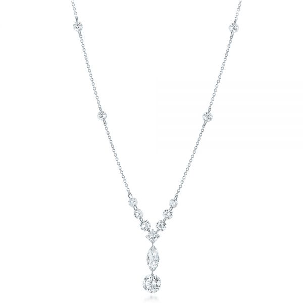Custom Laser Linked Diamond Necklace - Three-Quarter View -  102063 - Thumbnail