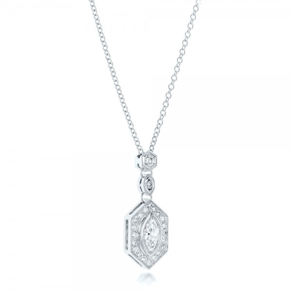 Custom Marquise Diamond Pendant - Flat View -  102429 - Thumbnail