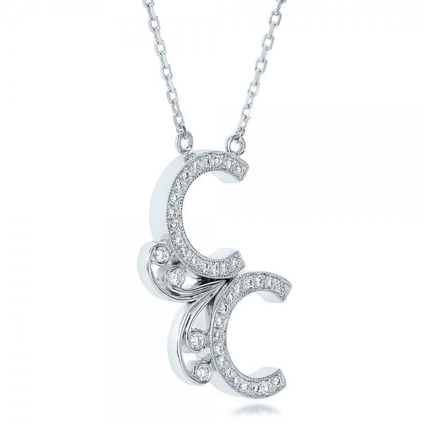 Custom Micro-Pave Diamond Initals Pendant - Laying View