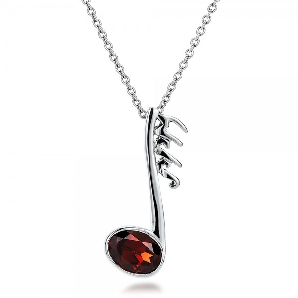 Custom Musical Note and Garnet Pendant