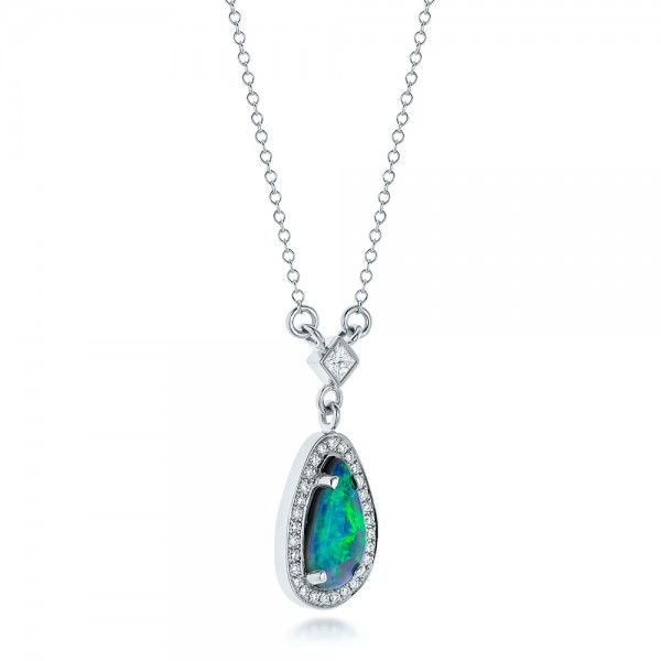 Custom Opal and Diamond Halo Pendant - Flat View -  102266 - Thumbnail