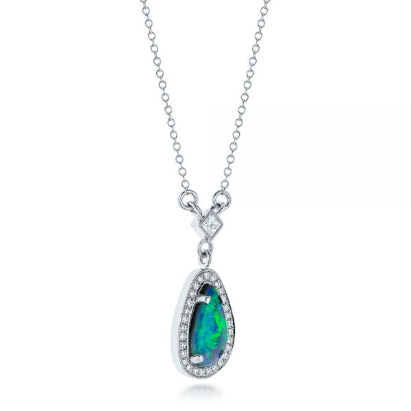 14k White Gold Custom Opal And Diamond Halo Pendant - Flat View -  102266