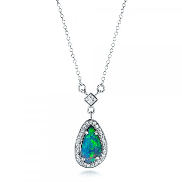 Custom Opal and Diamond Halo Pendant - Three-Quarter View -  102266 - Thumbnail