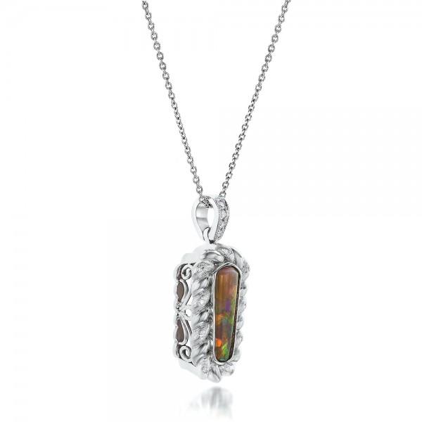 Custom Opal and Diamond Pendant - Laying View