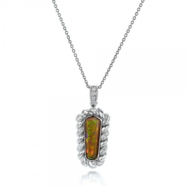 Custom Opal and Diamond Pendant