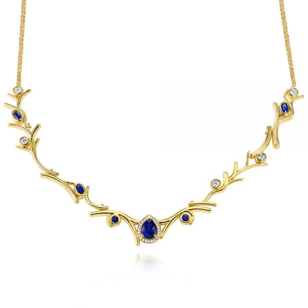 Custom Organic Blue Sapphire and Diamond Necklace - Image