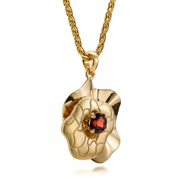 Custom Organic Yellow Gold and Red Garnet Pendant - Laying View