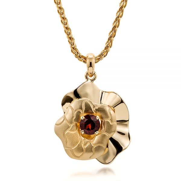 14K Gold Custom Organic Red Garnet Pendant - Three-Quarter View -