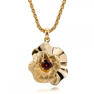 Custom Organic Yellow Gold and Red Garnet Pendant