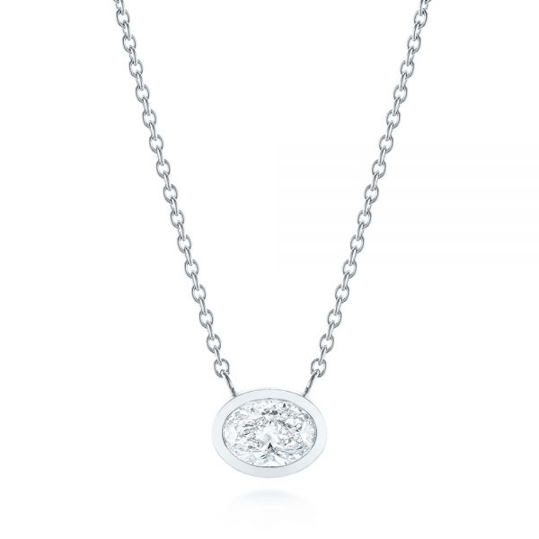 Custom Oval Diamond Bezel Pendant - Image