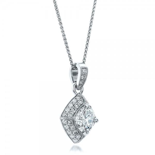 Custom Pave Diamond Pendant - Laying View