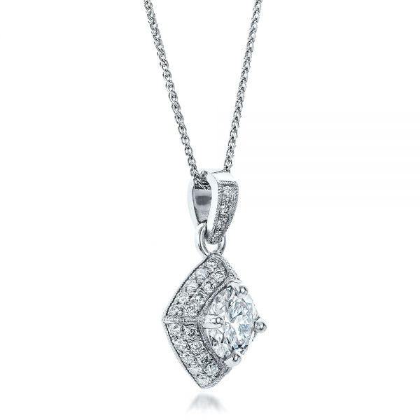 14k White Gold Custom Pave Diamond Pendant - Flat View -  100820