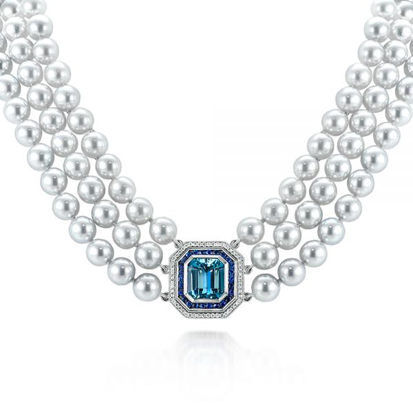 Custom Pearl, Aquamarine, Blue Sapphire and Diamond Necklace - Image