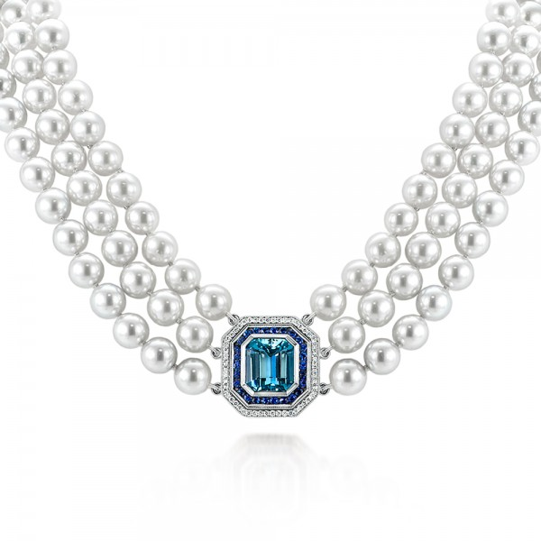 Custom Pearl, Aquamarine, Blue Sapphire and Diamond Necklace
