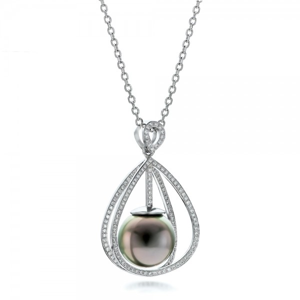 Custom Pearl and Diamond Pendant - Flat View -  101158 - Thumbnail