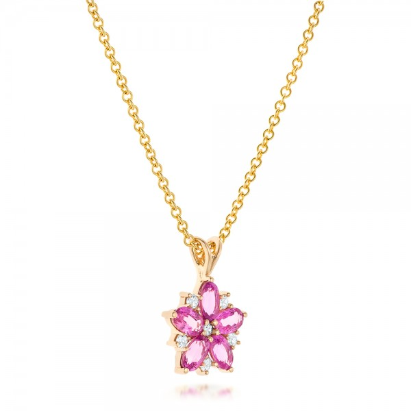 Custom Pink Sapphire and Diamond Flower Pendant