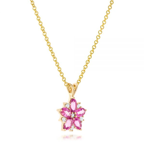18k Yellow Gold Custom Pink Sapphire And Diamond Flower Pendant - Flat View -