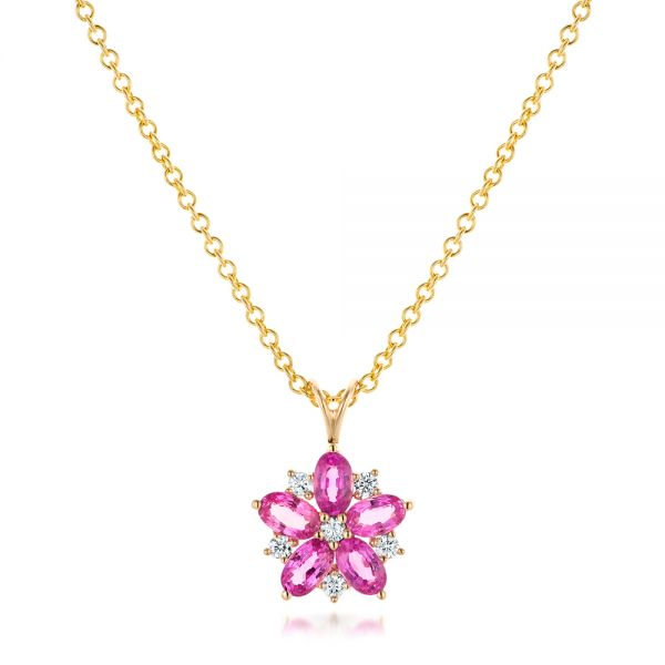 Custom Pink Sapphire and Diamond Flower Pendant - Image