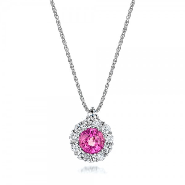 Custom pink sapphire and diamond halo pendant 101245 aloadofball Gallery