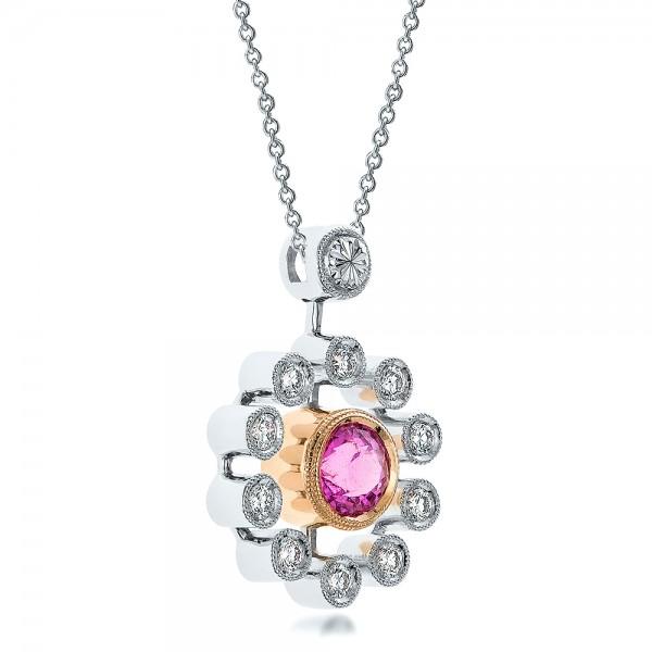 Custom Pink Sapphire and Diamond Pendant - Laying View