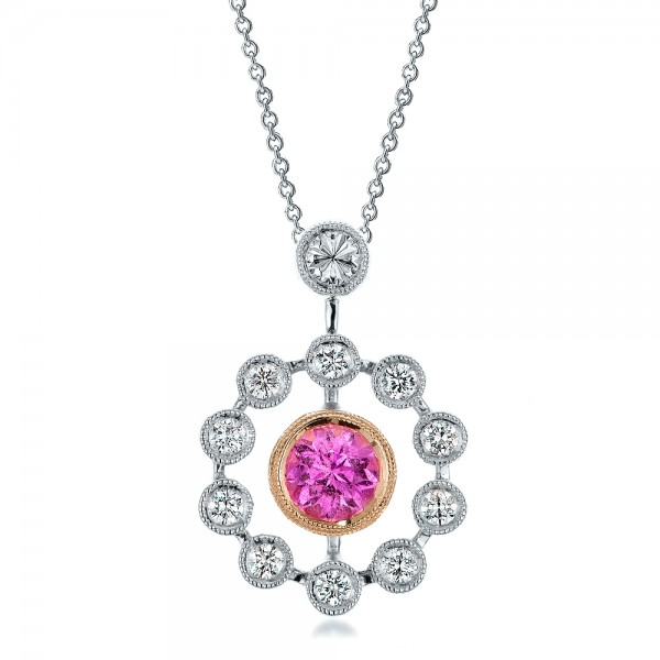 Custom Pink Sapphire and Diamond Pendant