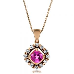 Custom Pink Sapphire and Rose Gold Pendant - Image