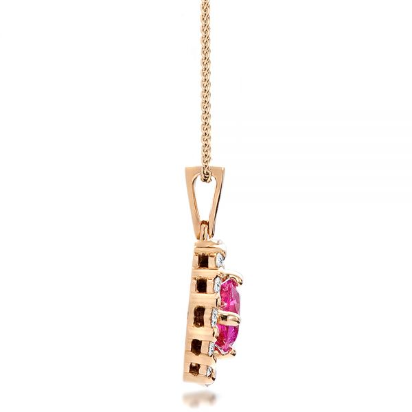 18k Rose Gold Custom Pink Sapphire Pendant - Side View -  100164