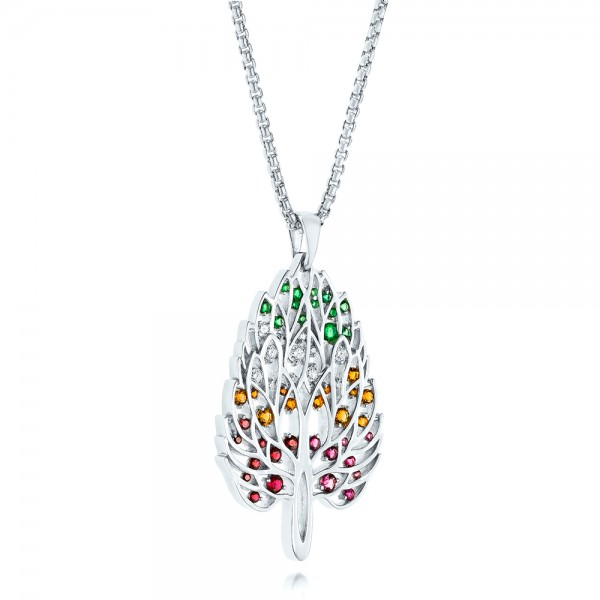 Custom Pink Tourmaline, Ruby, Citrine, Emerald and Diamond Pendant - Laying View