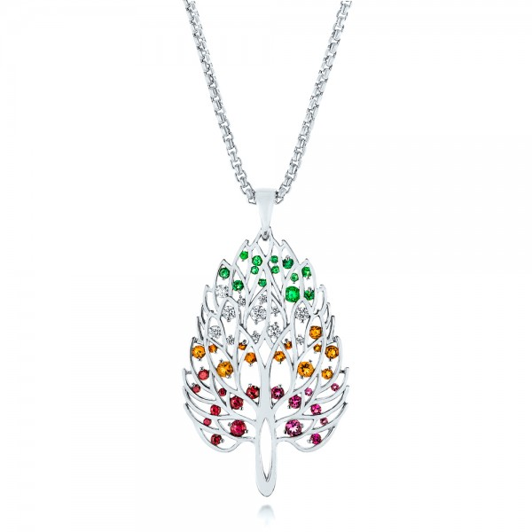 Custom Pink Tourmaline, Ruby, Citrine, Emerald and Diamond Pendant