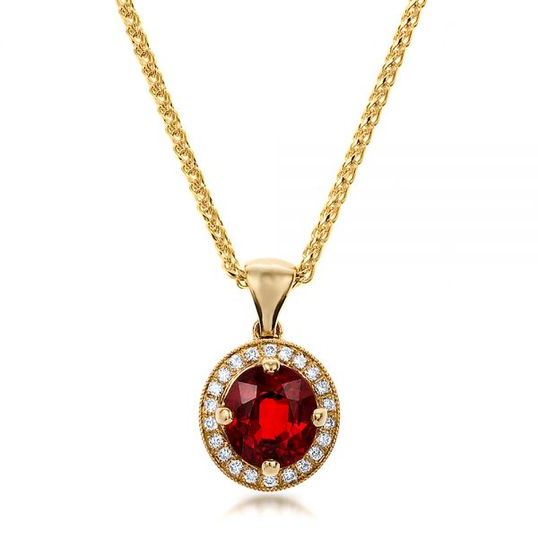 Platinum Platinum Custom Red Sapphire And Diamond Halo Pendant - Three-Quarter View -