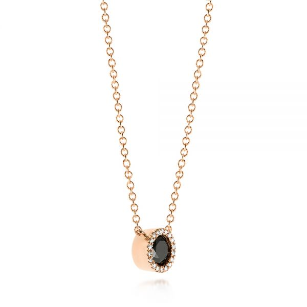 Custom Rose Gold Black and White Diamond Pendant - Flat View -  103452 - Thumbnail