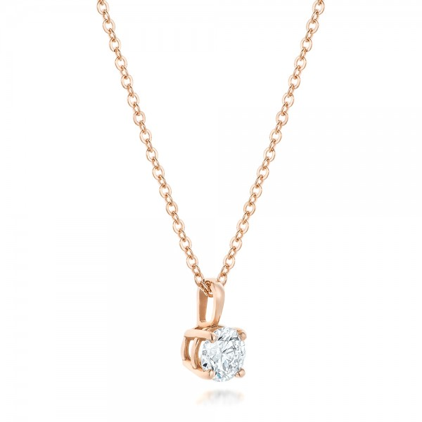 Custom Rose Gold and Diamond Solitaire Pendant - Laying View