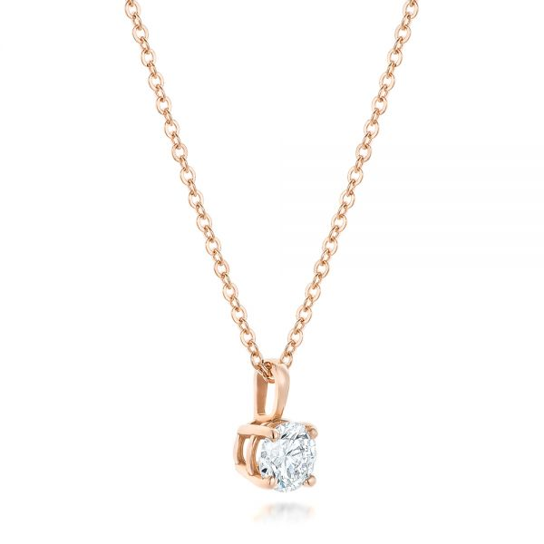 14k Rose Gold Custom Diamond Solitaire Pendant - Flat View -